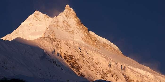 Early morning light on Manaslu, from Samagaon (Samagaun), Around Manaslu Trek, Nepal